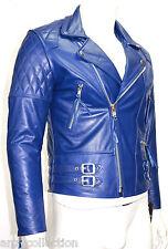 Desprado Homme Bleu Electrique Style Moto Motard Veste En Véritable Cuir