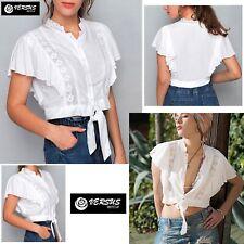 Top Corto Donna Camicetta Annodata Davanti Casual Woman T-shirt Bluse VM18274