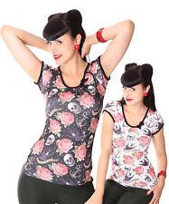 Liquor BRAND Rose Tattoo Girl Doll Puff manica Rockabilly T-shirt