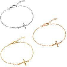 Sterling Silver Charm Bracelet w/ Sideways CZ Stones Cross