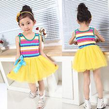 Girls Striped Party Dress Summer Dress Orange Yellow Hot Pink White 3-8 Years