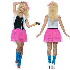 80er Jahre Kostüm Damen Neonkleid Popstar Girly Mode Outfit Disco Rockstar Party