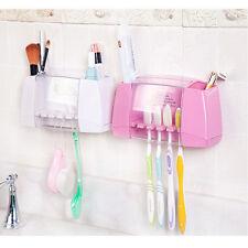 Multifunctional toothbrush holder storage box bathroom  suction hooks T3I