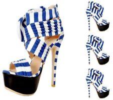 Women Bowtie Summer High Heels Back Zippers Platform Stilettos Party Shoes 34-47