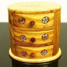 Wood Oriental Chinese Vietnamese Handmade Pearl Flowers Jewellery Storage Case