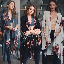 New Floral print kimono wrap cover up cardigan SEXY boho black charcoal ivory