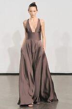 HALSTON Black Silk Low Cut Cross Back Dress Gown 2 or 4