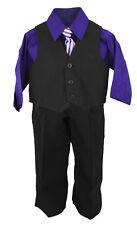 Infantil 4 PIEZAS CAMISETA & Pantalones Set Lila Camisa / Negro con A Juego