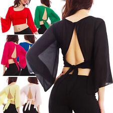 Blusa mujer corta velado chifón espalda abierta suéter élégant top sexy VB-1071