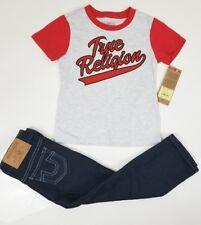 NWT True Religion Kid's Boy's Baseball Tee Gray/Red Shirt & Jeans Set A3