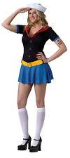 Popeye The Sailor Man Lady Sexy Adult Womens Costume Dress Mini Skirt Halloween