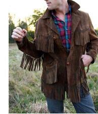 Men Western Suede Leather Jacket Wear Fringes  American Cowboy Coat S M L XL XXL