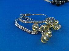 Glasperlen Ohrringe ovale Creolen mit Strass und kleinen Glasperlchen