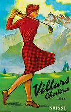 TX288 Vintage Villars Chesieres GOLF Switzerland Travel Poster Re-Print A2/A3/A4