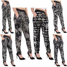 New Womens Floral Tie Dye Web Print Plus Size Ali Baba Harem Trousers Pants 8-26