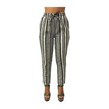 LA FEE MARABOUTEE pantalones de mujer con elástico e cordón rayas blanco/negro