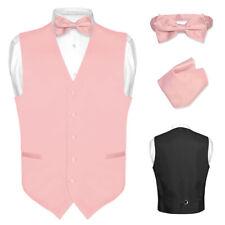 Men's Dress Vest BOWTie Hanky BLUSH DUSTY ROSE PINK Bow Tie Set for Suit Tuxedo