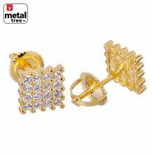 Men's 925 Silver in 14k G.P Mini Square Block 7 mm Screw Back Stud Earrings