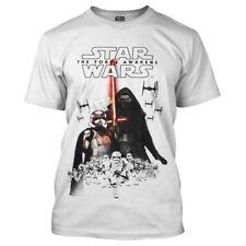 Star Wars Man T-Shirt - Force Awakens Laserschwert weiß Front Print