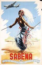 Vintage Sabena Airlines a Congo Belga y s África Poster A3 impresión
