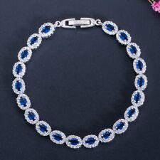 Dark Blue Stone 925 Sterling Silver Bracelet Cubic Zirconia Stylish New Fashion