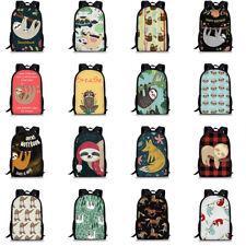 Cute Sloth Animal Backpack Women Girls School Travel Laptop Rucksack Zipper Bag