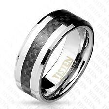 Af Titan Wolfram Ring Silver 8mm Wide Carbon Fibre Black 60(19)- 66(21)