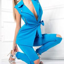 Ocassion Damen 2-Teiler Röhrenhose+ Longjacke Weste Stoffhose Cut-Out Zipper