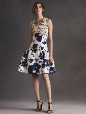 $4490 New Oscar de la Renta marine Blue Floral Mixed Media Sequin Silk DRESS 10