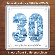 30th Birthday Gift Personalised Word Art Drinks Coaster Present 30 Thirty