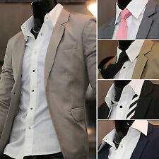 Mens Slim Fit Luxury Light Simple Jacket Jumper Button Blazer Top W723 - S/M/L