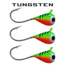 3 Pack - Tungsten Ice Fishing Jigs - FIRETIGER Bright UV (6 Size Variations)