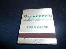 New Old Stock Giuseppe's Italian Restaurant 4141 South Grand matchbook