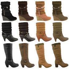 Señoras para mujer mitad de la pantorrilla Rodilla De Tacón Alto Invierno Tobillo calcetín Botas Biker Zapatos Talla