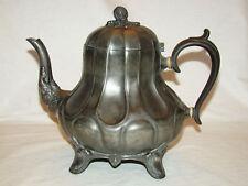 "Victorian Sheffield Pewter H.G. Long Teapot c1840's 8""h"