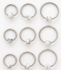 New Surgical Steel Semi Precious White Howlite Ball Captive Bead Ring Tragus 16g