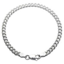 "Sterling Silver Double Link Charm Bracelet 4mm 060 gauge 6"" 7"" 8"""