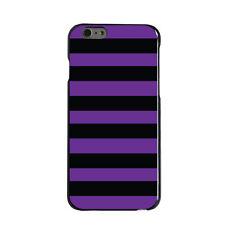 Hard Case Cover for iPhone 5 5S SE 6 6S 7 PLUS Black & Purple Bold Stripes