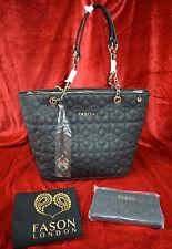 BLACK Ladies Designer Fason Quilted Tote Shoulder Bag & FREE  Purse - rrp £180