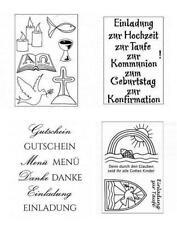 Clear Stamps EFCO Silikon Stempel TEXTE kirchliche FESTE Feier Gutschein Taufe