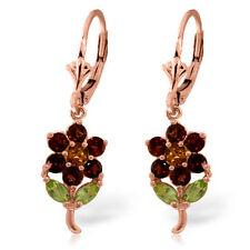 Genuine Garnet, Citrine & Peridot Gems Flower Leverback Earrings 14K. Solid Gold