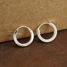 925 Sterling Silver Simple Huggie Hoop Earrings Men Women 10/12/14/16 mm A1733
