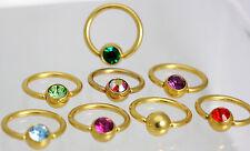 CRYSTAL  Ball closure Rings  gold plate  Navel- Lip- Eye- Tragus- Personal