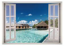 Beach Water View Window 3D Wall Decal Art Mural Home Decor Canvas Vinyl W167