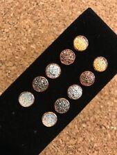 10mm Rose Gold Druzy Earring, Faux Druzy Earrings, Childrens Earrings