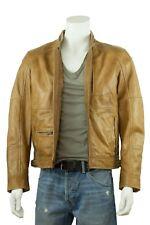 New Men Tan Brown Napa Classic Cowhide Fashion Biker Leather Jacket Bike Rock