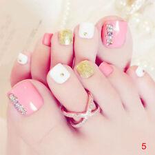 24Pcs Rosa 3D falsas uñas del dedo del dedo del pie Francés Arte en Uñas Puntas Acrílico Falso Toe PIP UK