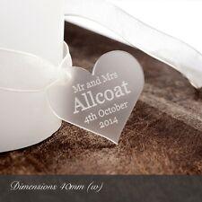 Personalizado 4cm Transparente Esmerilado Corazón De Acrílico Detalles Boda/para