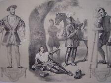 Lithographie Mort du Chevalier BAYARD  Portraits de François Ier et de Goujon