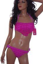 Womens Halter Top Bandeau 2 Piece Bathing Swim suit Lace Purple Pink XS S NEW
